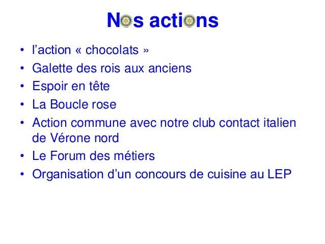 Nos actions • l'action « chocolats » • Galette des rois aux anciens • Espoir en tête • La Boucle rose • Action commune ave...