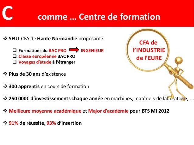 CFA del'INDUSTRIEde l'EURE SEUL CFA de Haute Normandie proposant : Formations du BAC PRO INGENIEUR Classe européenne BA...