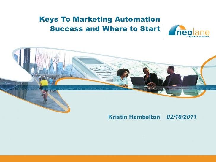 Keys To Marketing Automation Success and Where to Start Kristin Hambelton 02/10/2011