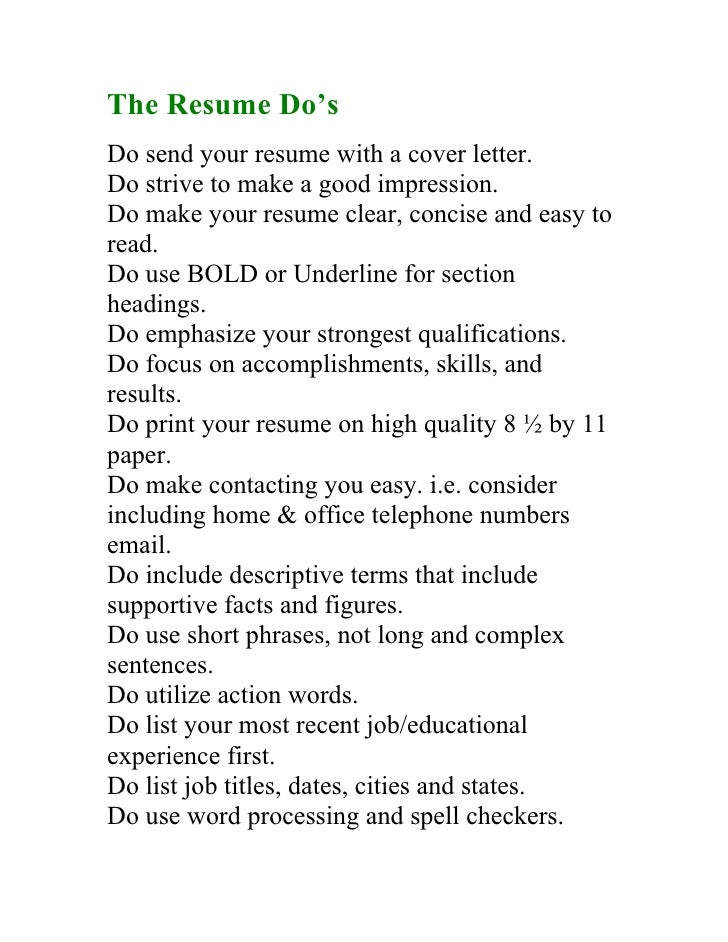 3. The Resume Dou0027s ...  How To Do A Perfect Resume