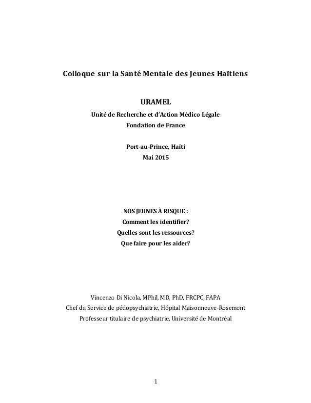 1 Colloque sur la Santé Mentale des Jeunes Haïtiens URAMEL Unité de Recherche et d'Action Médico Légale Fondation de Franc...