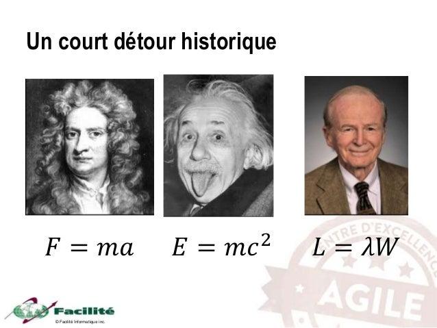 © Facilité Informatique inc. Un court détour historique 𝐹 = 𝑚𝑎 𝐸 = 𝑚𝑐2 𝐿 = 𝜆𝑊