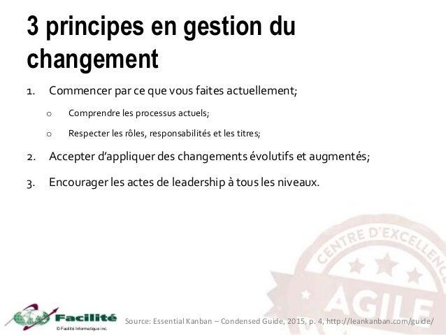 © Facilité Informatique inc. 3 principes en gestion du changement 1. Commencer par ce que vous faites actuellement; o Comp...