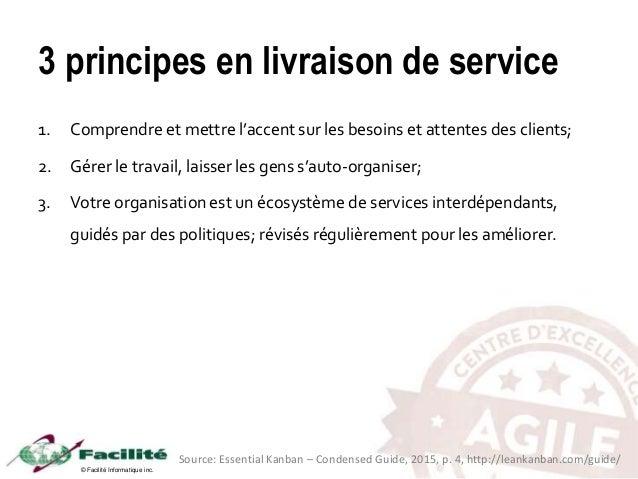 © Facilité Informatique inc. 3 principes en livraison de service 1. Comprendre et mettre l'accent sur les besoins et atten...