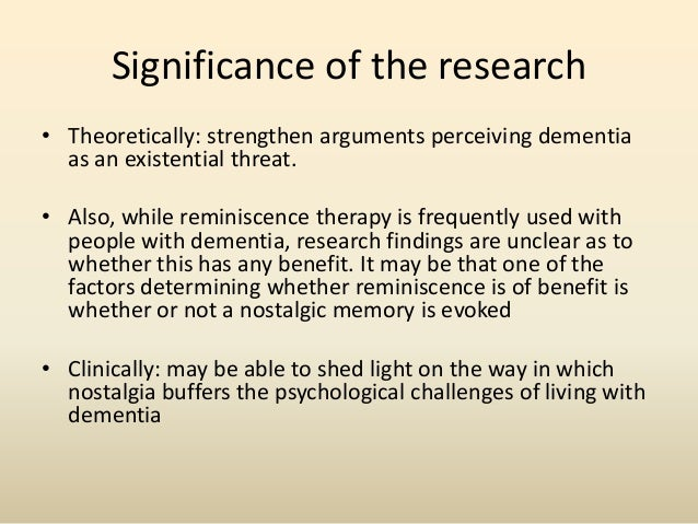 The psychological impacts of nostalgia for people with dementia