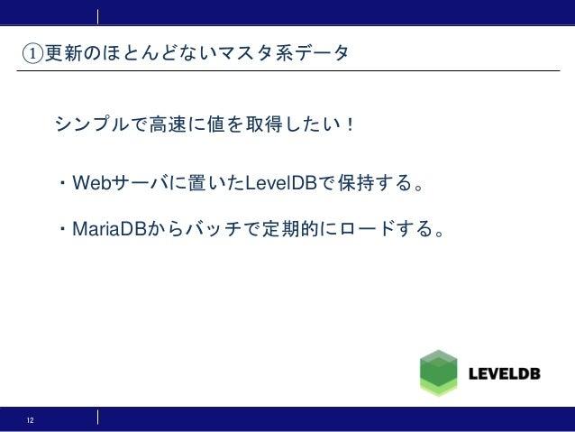 12 ・Webサーバに置いたLevelDBで保持する。 ・MariaDBからバッチで定期的にロードする。 ①更新のほとんどないマスタ系データ シンプルで高速に値を取得したい!