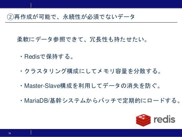 14 ・Redisで保持する。 ・クラスタリング構成にしてメモリ容量を分散する。 ・Master-Slave構成を利用してデータの消失を防ぐ。 ・MariaDB/基幹システムからバッチで定期的にロードする。 ②再作成が可能で、永続性が必須でない...