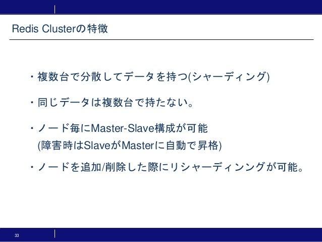 33 ・複数台で分散してデータを持つ(シャーディング) ・同じデータは複数台で持たない。 ・ノード毎にMaster-Slave構成が可能 (障害時はSlaveがMasterに自動で昇格) ・ノードを追加/削除した際にリシャーディンングが可能。 ...