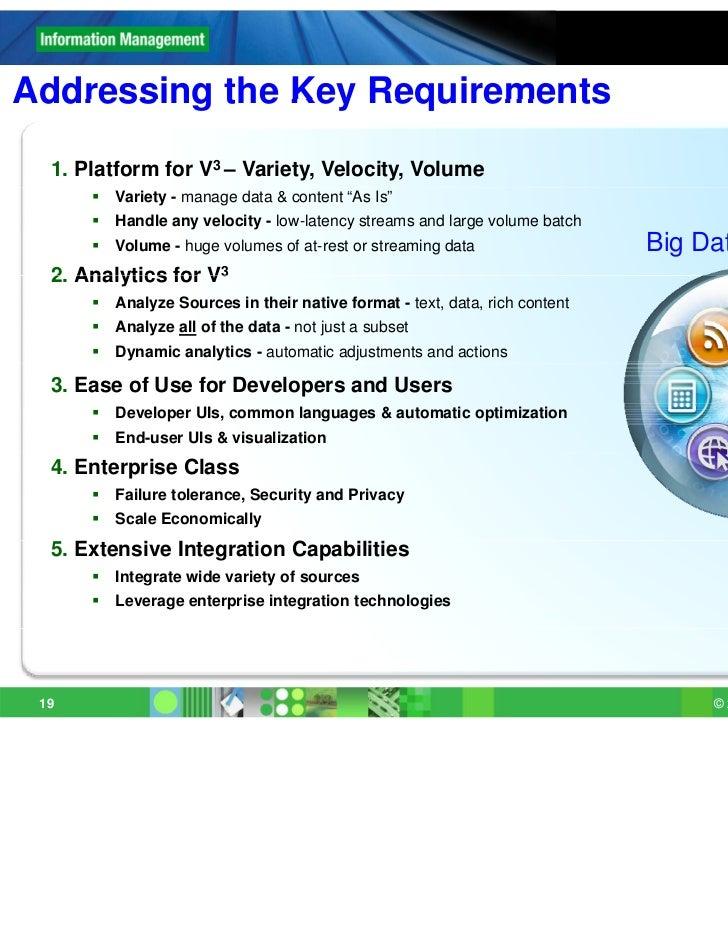 "Addressing the Key Requirements  1. Platform for V3 – Variety, Velocity, Volume         Variety - manage data & content ""..."