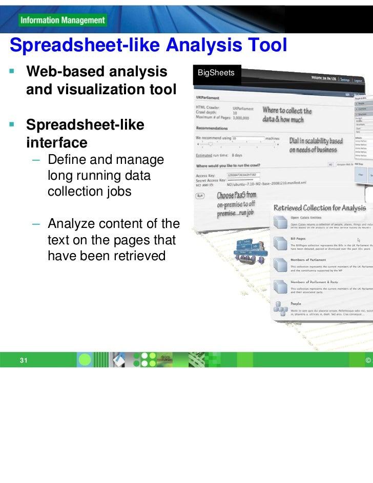 Spreadsheet likeSpreadsheet-like Analysis Tool Web-based analysis             BigSheets  and visualization tool Spreadsh...