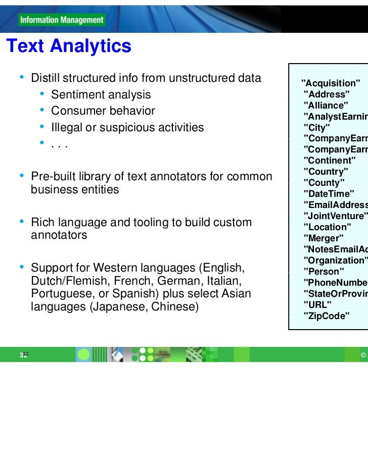 """Text Analytics • Distill structured info from unstructured data    """"Acquisition""""    • Sentiment analysis                  ..."""