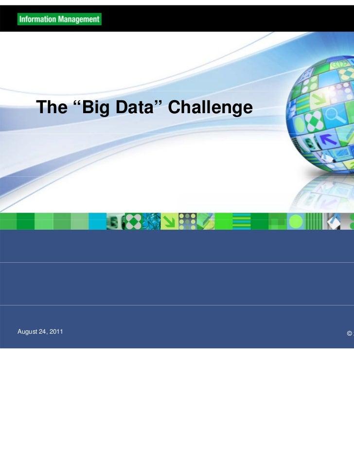 "The ""Big Data"" ChallengeAugust 24, 2011                 © 2011 IBM Corporation & SciSpike"
