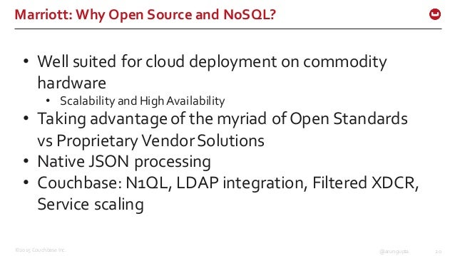 ©2015 Couchbase Inc. 20@arungupta Marriott: Why Open Source and NoSQL? • Well suited for cloud deployment on ...