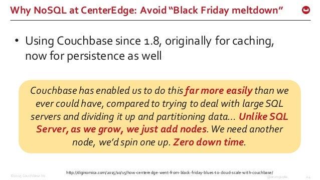 "©2015 Couchbase Inc. 24@arungupta Why NoSQL at CenterEdge: Avoid ""Black Friday meltdown"" http://diginomica.com/20..."