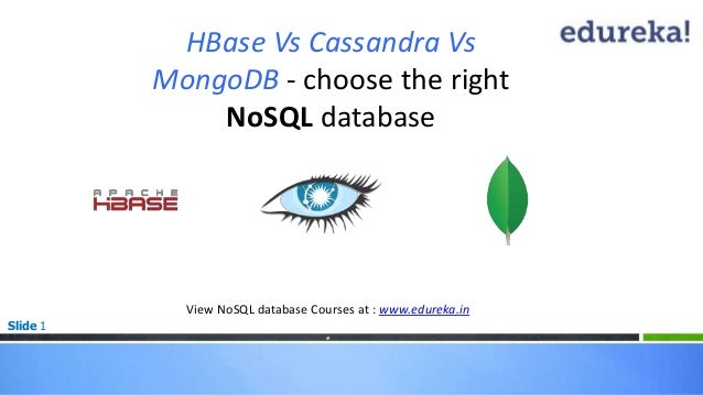 Slide 1 HBase Vs Cassandra Vs MongoDB - choose the right NoSQL database View NoSQL database Courses at : www.edureka.in *