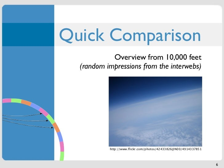 Quick Comparison            Overview from 10,000 feet  (random impressions from the interwebs)           http://www.flickr....