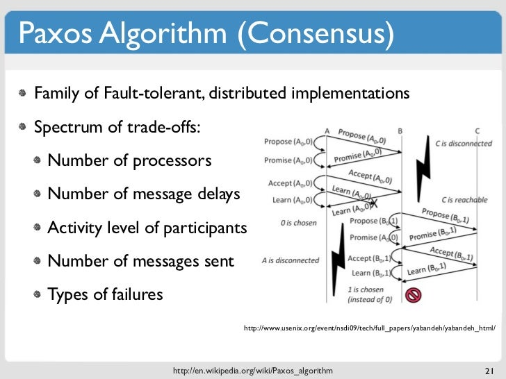 Paxos Algorithm (Consensus) Family of Fault-tolerant, distributed implementations Spectrum of trade-offs:  Number of proce...