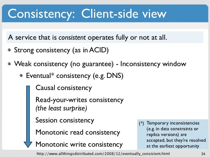Consistency: Client-side viewA service that is consistent operates fully or not at all.  Strong consistency (as in ACID)  ...