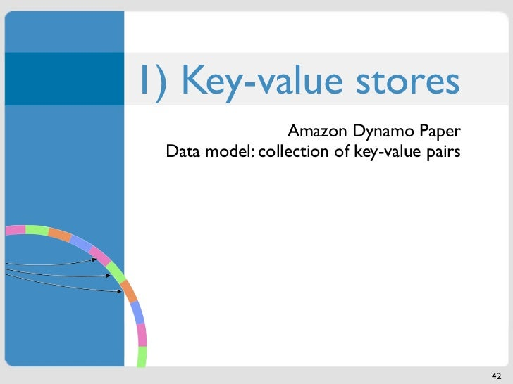 1) Key-value stores                 Amazon Dynamo Paper Data model: collection of key-value pairs                         ...