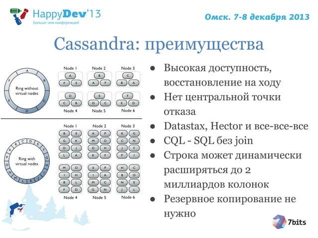 Cassandra: преимущества ● Высокая доступность, восстановление на ходу ● Нет центральной точки отказа ● Datastax, Hector и ...