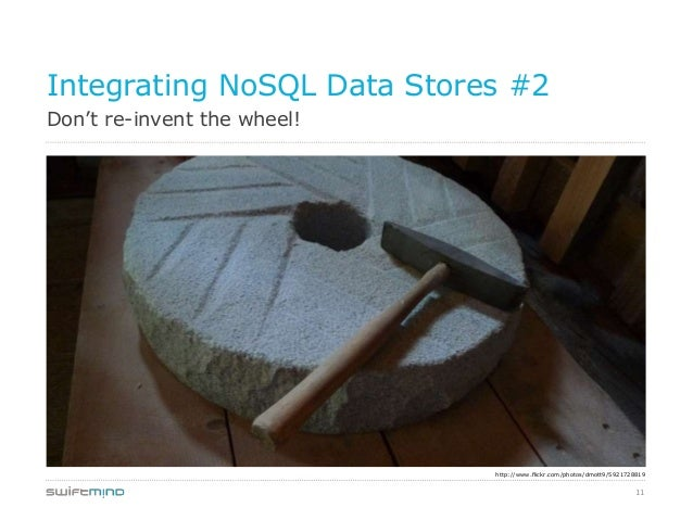 11Don't re-invent the wheel!Integrating NoSQL Data Stores #2http://www.flickr.com/photos/dmott9/5921728819