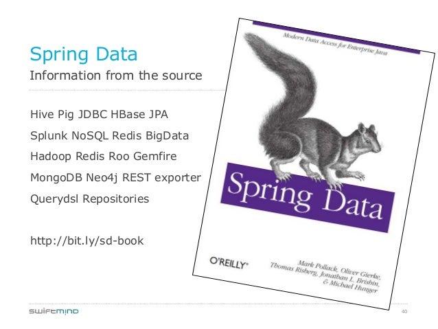 40Information from the sourceSpring DataHive Pig JDBC HBase JPASplunk NoSQL Redis BigDataHadoop Redis Roo GemfireMongoDB N...