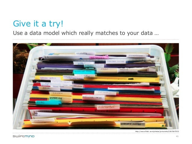 41Use a data model which really matches to your data …Give it a try!http://www.flickr.com/photos/juniorvelo/3267647833