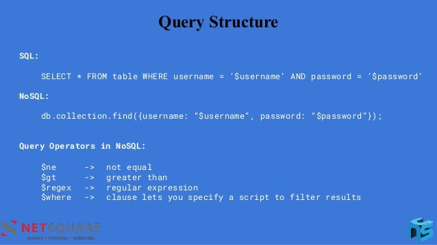 Query Structure SQL: SELECT * FROM table WHERE username = '$username' AND password = '$password' NoSQL: db.collection.find...