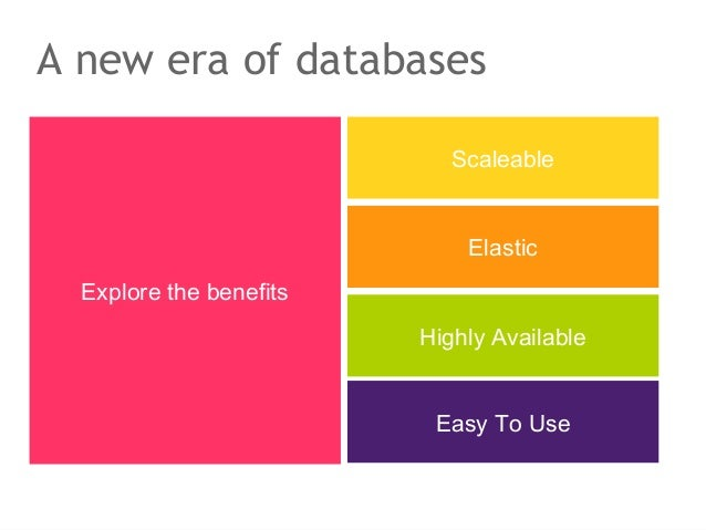 A new era of databases                            Scaleable                             Elastic  Explore the benefits     ...
