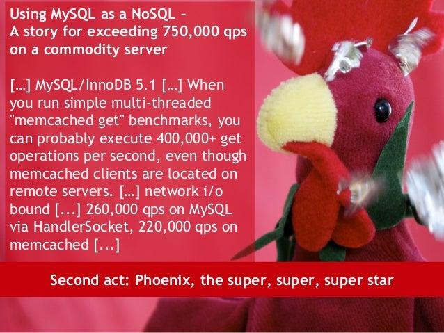 Using MySQL as a NoSQL –A story for exceeding 750,000 qpson a commodity server[…] MySQL/InnoDB 5.1 […] Whenyou run simple ...