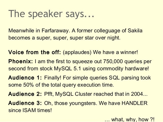 The speaker says...Meanwhile in Farfaraway. A former colleguage of Sakilabecomes a super, super, super star over night.Voi...