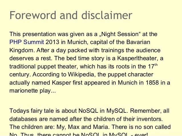 """Foreword and disclaimerThis presentation was given as a """"Night Session"""" at thePHP Summit 2013 in Munich, capital of the Ba..."""