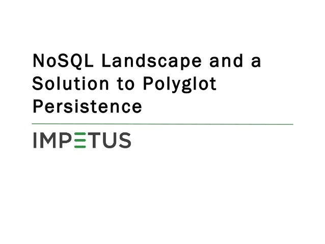 NoSQL Landscape and a Solution to Polyglot Persistence