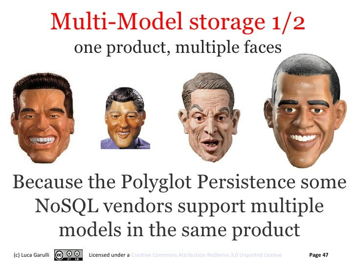 Multi-Model storage 1/2                     one product, multiple facesBecause the Polyglot Persistence some  NoSQL vendor...