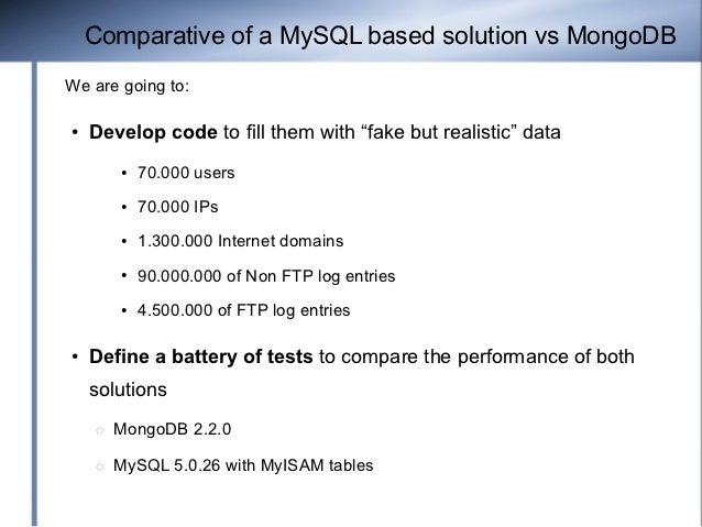 """Comparative of a MySQL based solution vs MongoDBWe are going to:●   Develop code to fill them with """"fake but realistic"""" da..."""