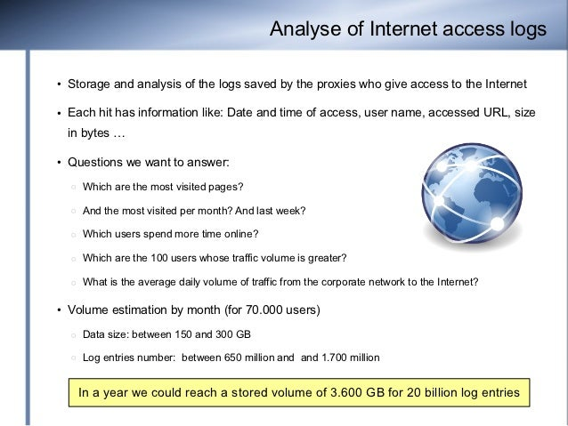 Analyse of Internet access logs●   Storage and analysis of the logs saved by the proxies who give access to the Internet● ...