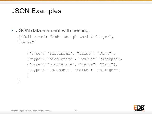 "JSON Examples  • JSON data element with nesting:  {""full name"": ""John Joseph Carl Salinger"",  ""names"":  [  {""type"": ""first..."