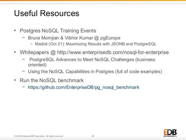 Useful Resources  • Postgres NoSQL Training Events  − Bruce Momjian & Vibhor Kumar @ pgEurope  − Madrid (Oct 21): Maximizi...