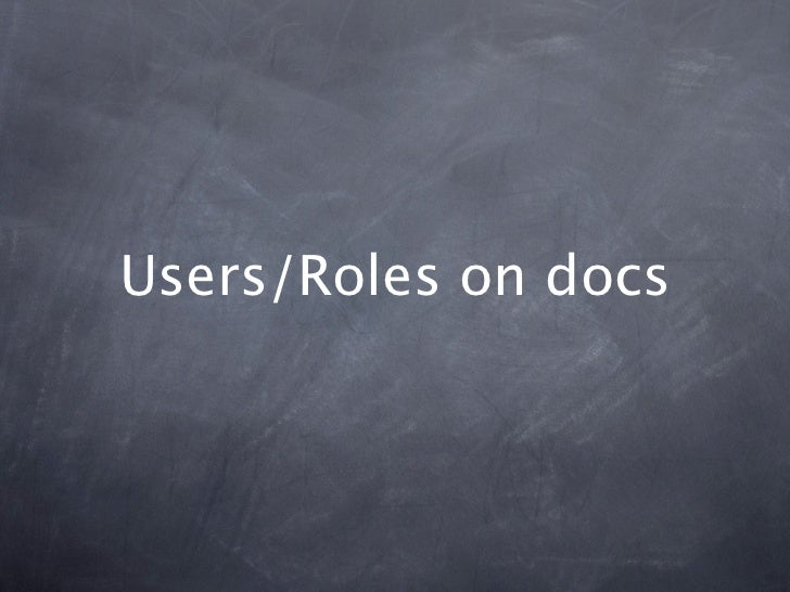 Users/Roles on docs