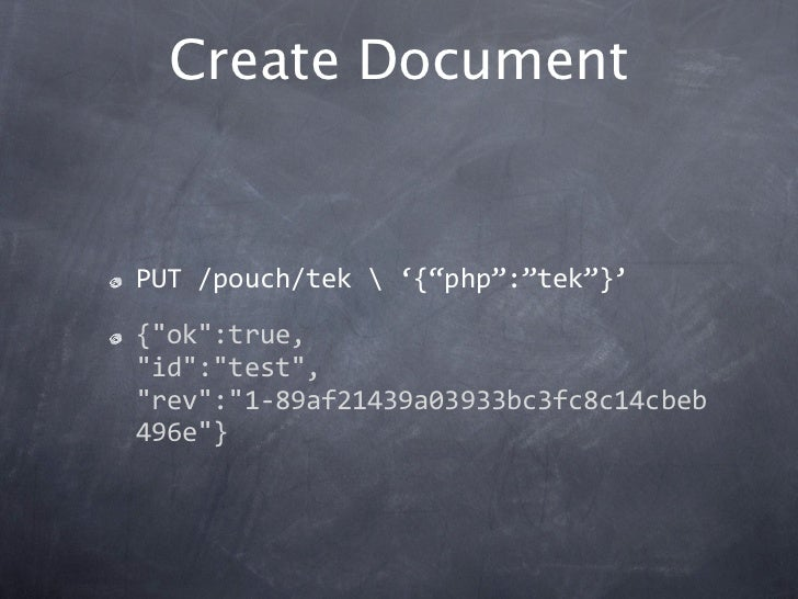 "Create DocumentPUT/pouch/tek'{""php"":""tek""}'{""ok"":true,""id"":""test"",""rev"":""1‐89af21439a03933bc3fc8c14cbeb496e""}"