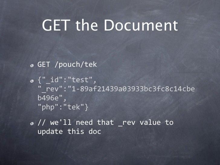 """GET the DocumentGET/pouch/tek{""""_id"""":""""test"""",""""_rev"""":""""1‐89af21439a03933bc3fc8c14cbeb496e"""",""""php"""":""""tek""""}//wellneedthat_rev..."""