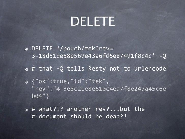 "DELETEDELETE'/pouch/tek?rev=3‐18d519e58b569e43a6fd5e87491f0c4c'‐Q#that‐QtellsRestynottourlencode{""ok"":true,""id"":..."