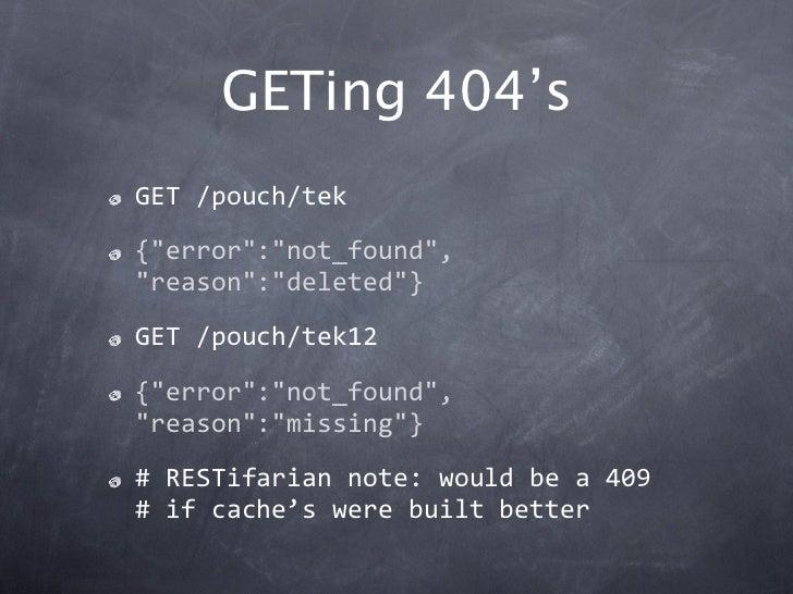 """GETing 404'sGET/pouch/tek{""""error"""":""""not_found"""",""""reason"""":""""deleted""""}GET/pouch/tek12{""""error"""":""""not_found"""",""""reason"""":""""missing""""}..."""