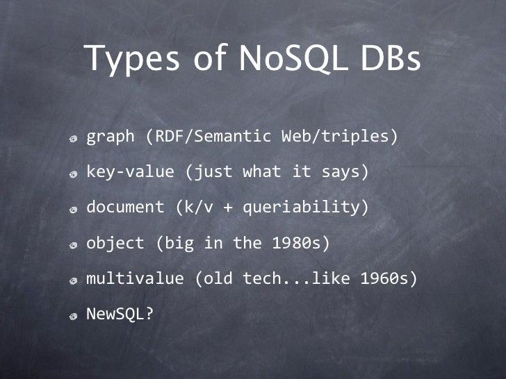 Types of NoSQL DBsgraph(RDF/SemanticWeb/triples)key‐value(justwhatitsays)document(k/v+queriability)object(bigin...