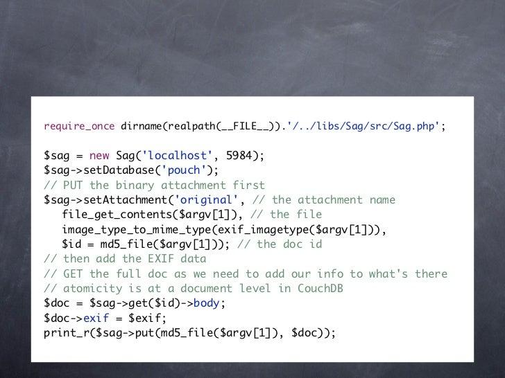 require_once dirname(realpath(__FILE__))./../libs/Sag/src/Sag.php;$sag = new Sag(localhost, 5984);$sag->setDatabase(pouch)...