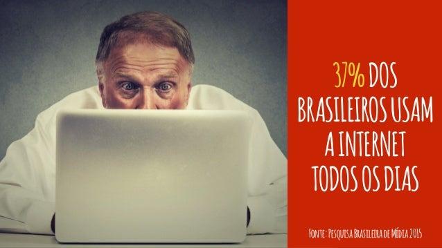 37%DOS BRASILEIROSUSAM AINTERNET TODOSOSDIAS Fonte:PesquisaBrasileiradeMídia2015