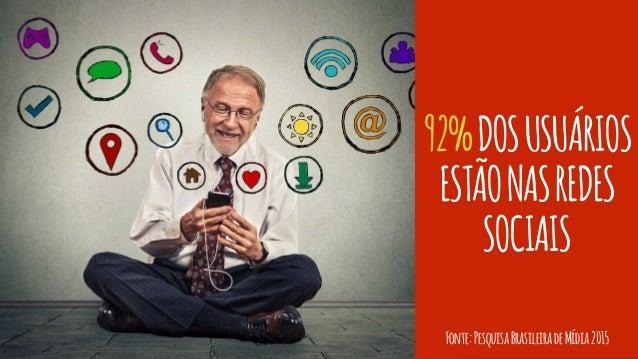92%DOSUSUÁRIOS ESTÃONASREDES SOCIAIS Fonte:PesquisaBrasileiradeMídia2015