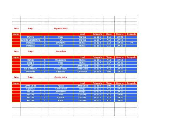 Data 6-Apr Segunda Feira Jogos Local Categoria Chave Horario Delegado Motivo X Visao Motivo sub 15 B 15 20:00 Zuleide Cons...